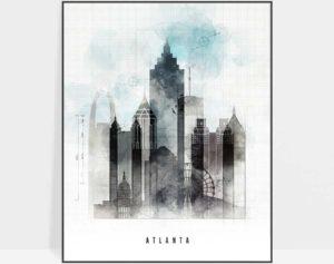 Atlanta art print skyline urban