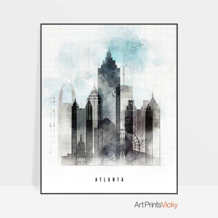 Atlanta Skyline Urban Art Print