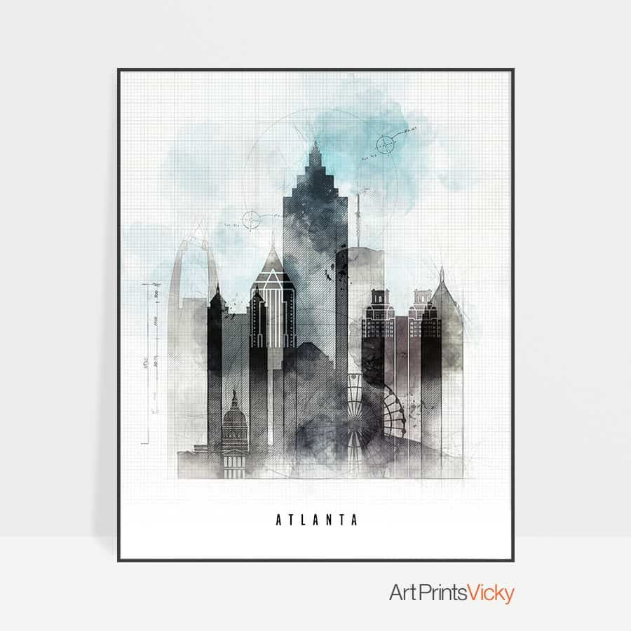 Atlanta art print skyline urban