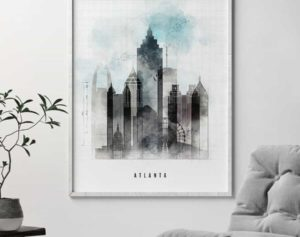 Atlanta art print skyline urban second