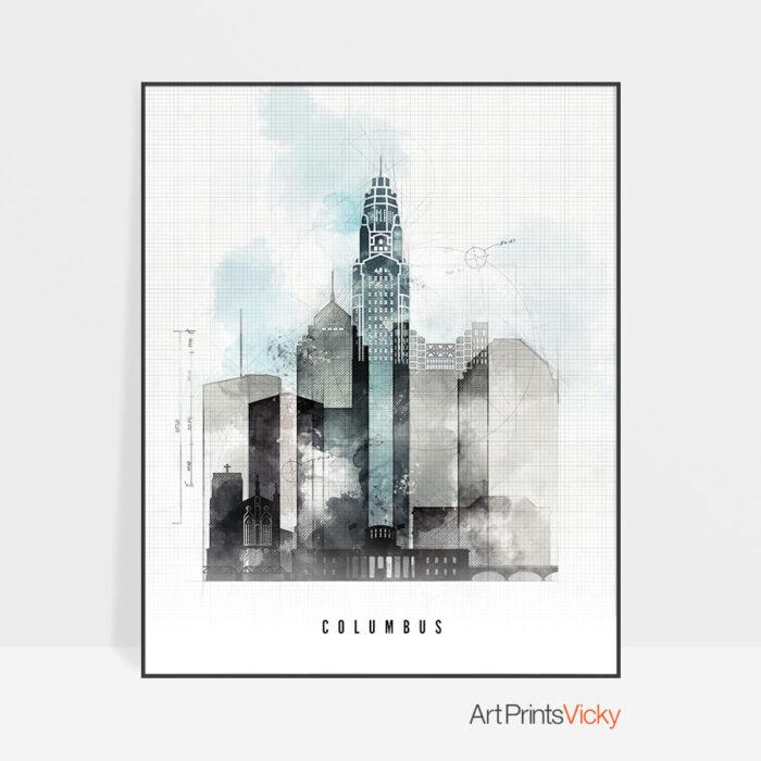 Columbus art print skyline urban