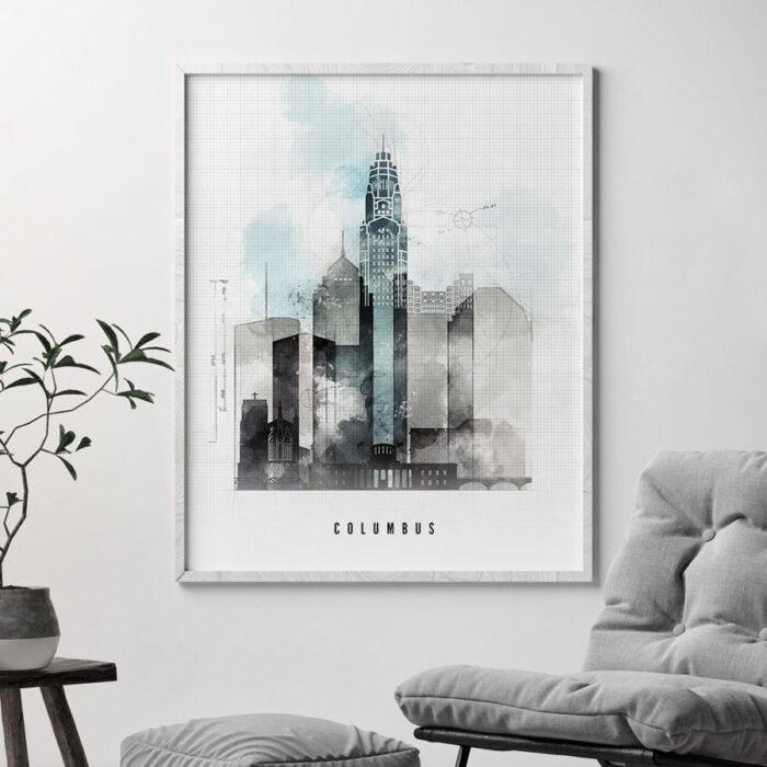 Columbus art print skyline urban second