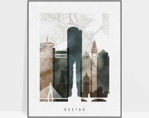 Boston map art print watercolor 2