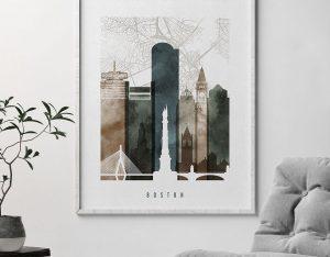 Boston map art print watercolor 2 second