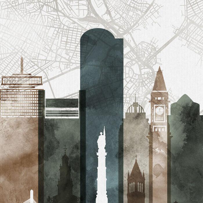 Boston map art print watercolor 2 detail