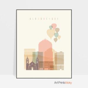 Albuquerque art print pastel cream