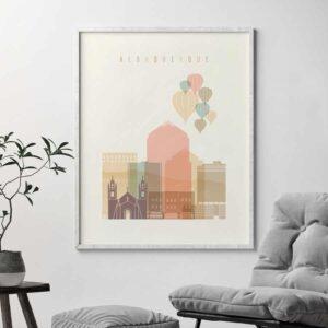 Albuquerque art print pastel cream second