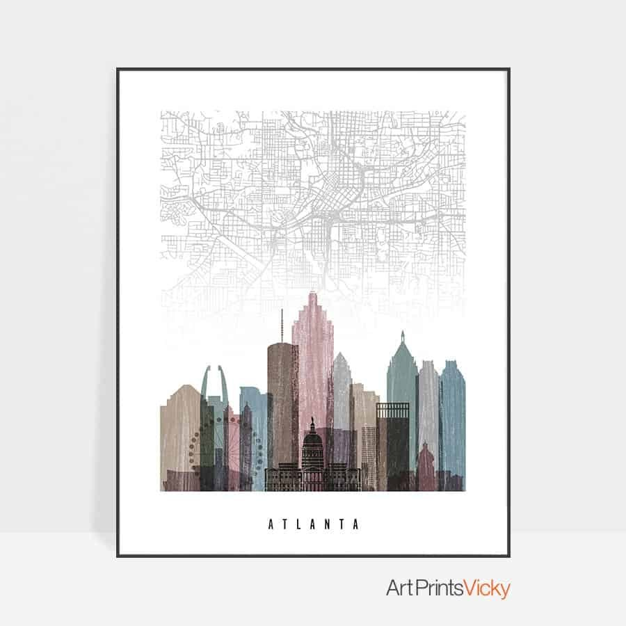 Atlanta map print distressed 1