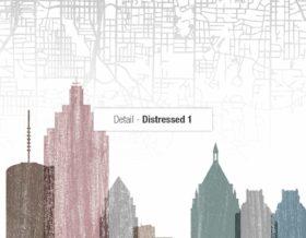 Atlanta map print distressed 1 detail