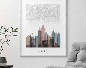 Atlanta map print distressed 1 second