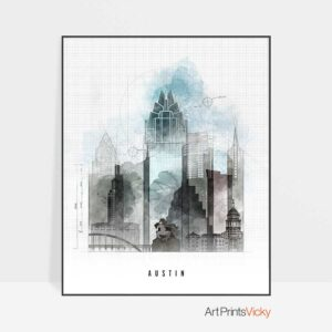 Austin art print skyline urban