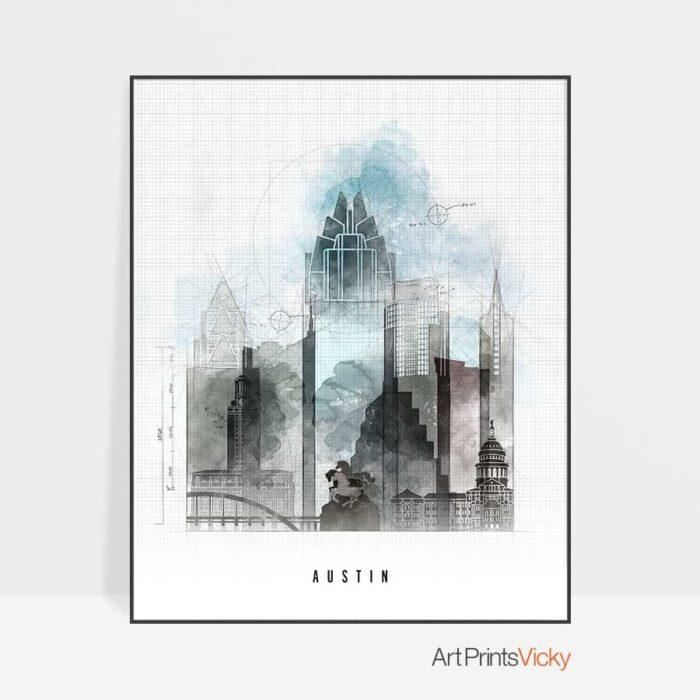 Austin art print skyline urban