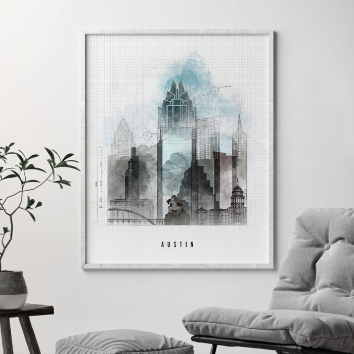 Austin art print skyline urban second