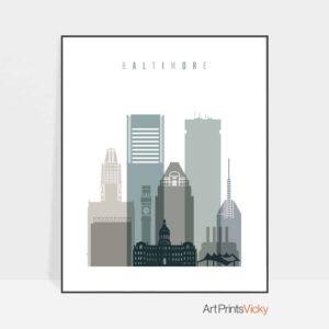 Baltimore skyline print earth tones 4