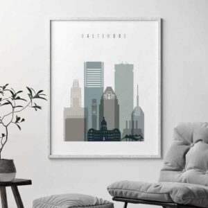Baltimore skyline print earth tones 4 second