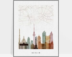 Berlin map skyline poster watercolor 1