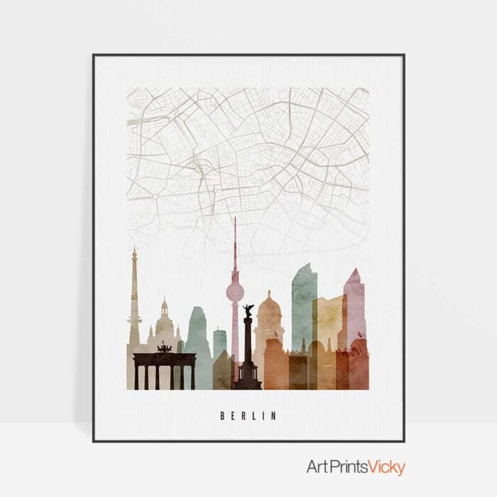 Berlin map skyline poster watercolor 1