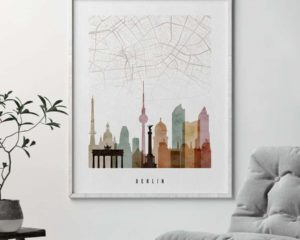 Berlin map skyline poster watercolor 1 second