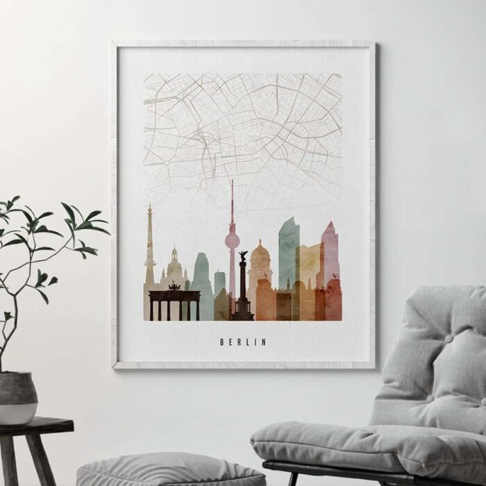 Berlin map skyline poster watercolor 1 second