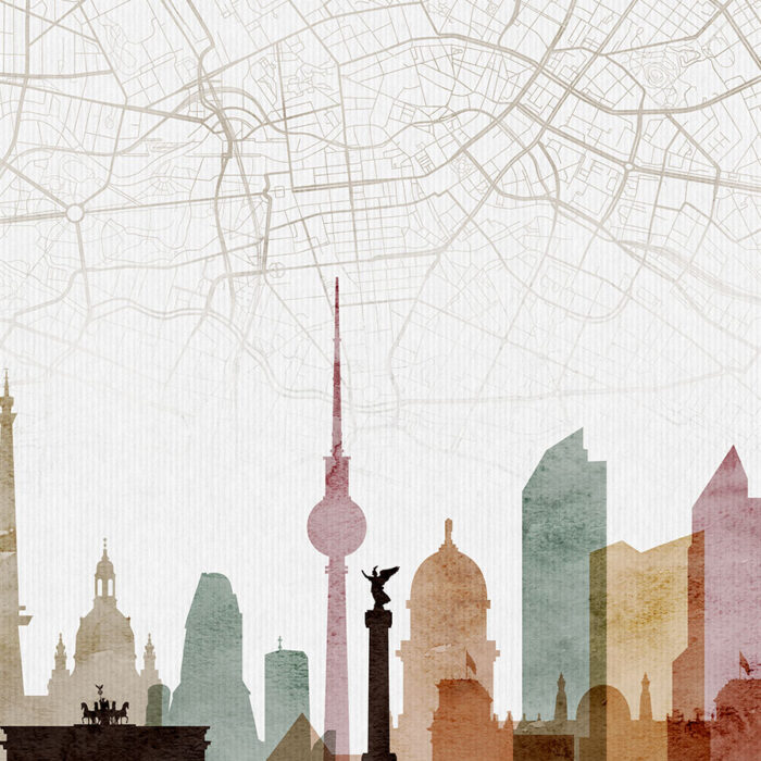 Berlin map skyline poster watercolor 1 detail