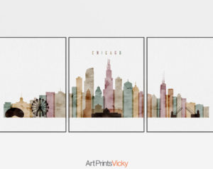 Chicago 3 piece wall art watercolor 1
