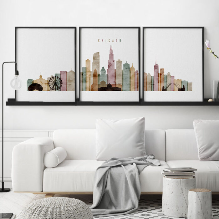 Chicago 3 piece wall art watercolor 1 second