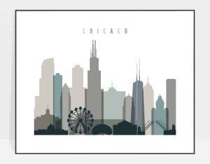 Chicago skyline poster landscape earth tones 4