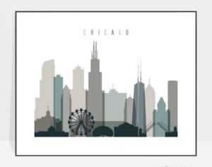 Chicago skyline poster landscape earth tones 4