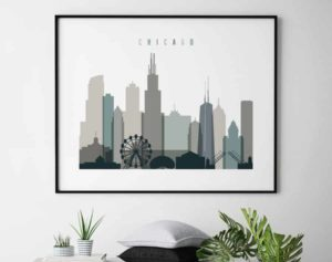 Chicago skyline poster landscape earth tones 4 second