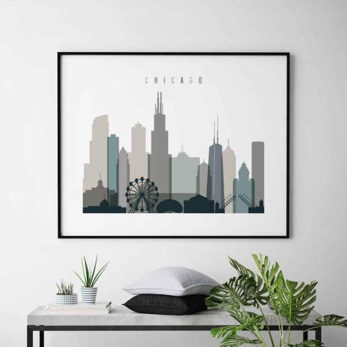 Chicago skyline poster landscape earth tones 4 second