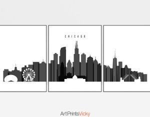 Chicago skyline set of 3 prints black and white