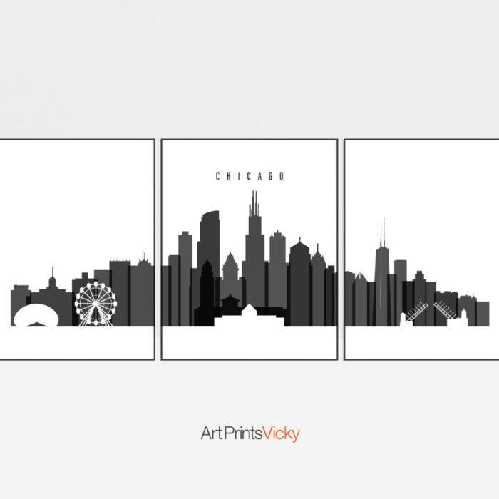 Chicago 3 prints set black white