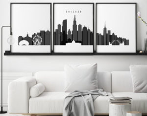 Chicago skyline set of 3 prints black and white second