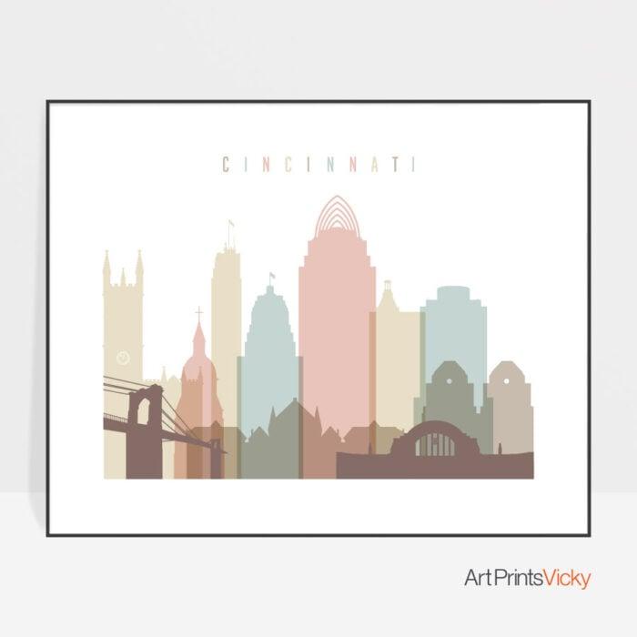 Cincinnati print landscape pastel white