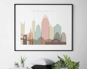 Cincinnati art print landscape pastel white second