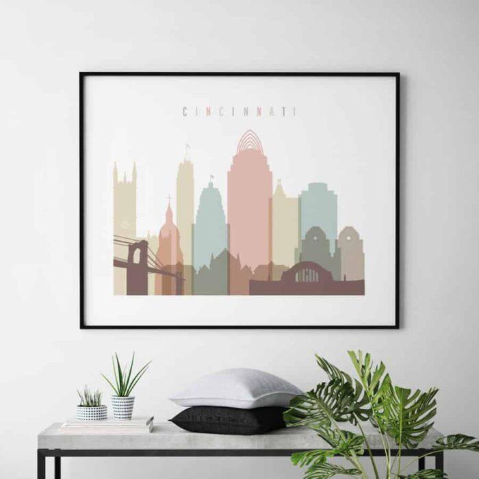Cincinnati art print landscape pastel white second
