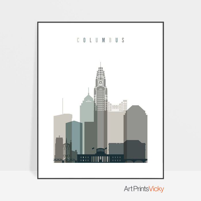 Columbus skyline print earth tones 4