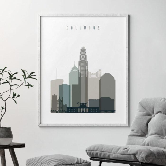 Columbus skyline print earth tones 4 second