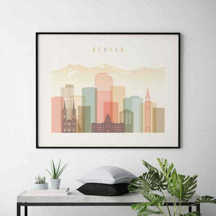 Denver skyline print landscape pastel cream second