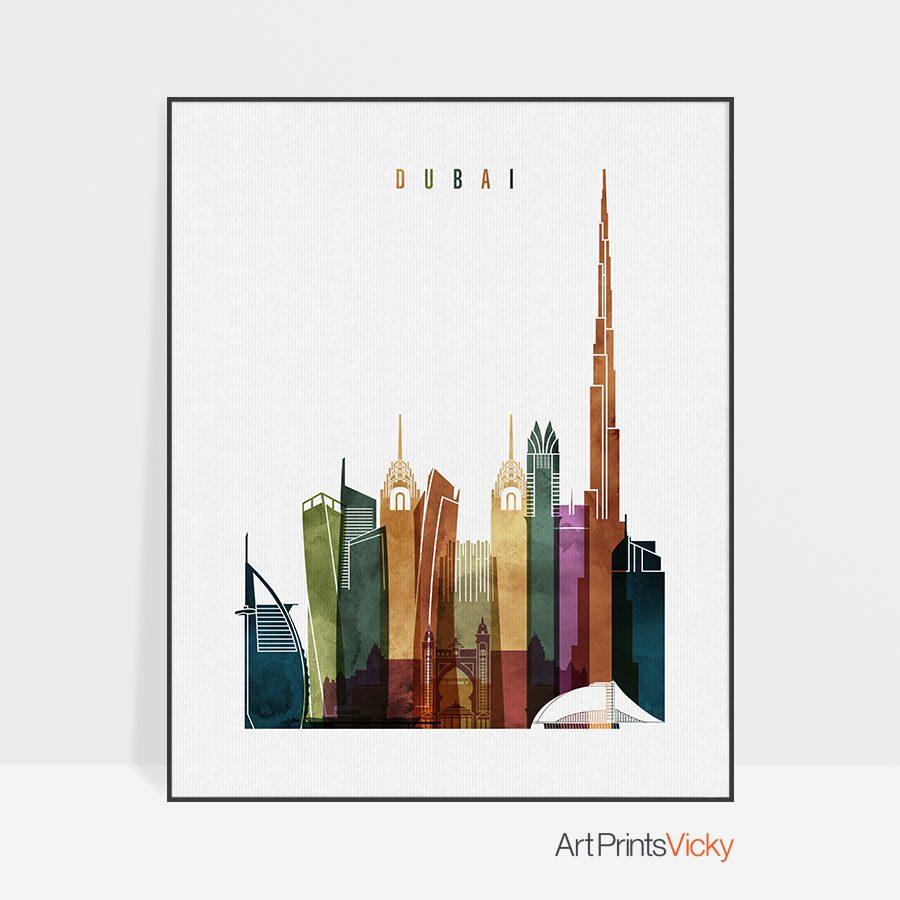 Dubai skyline poster watercolor 3