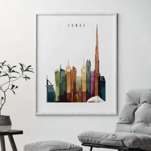Dubai skyline poster watercolor 3 second