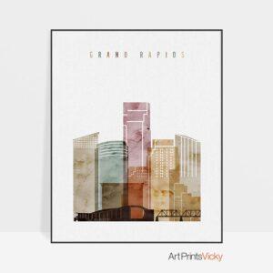 Grand Rapids skyline print watercolor 1