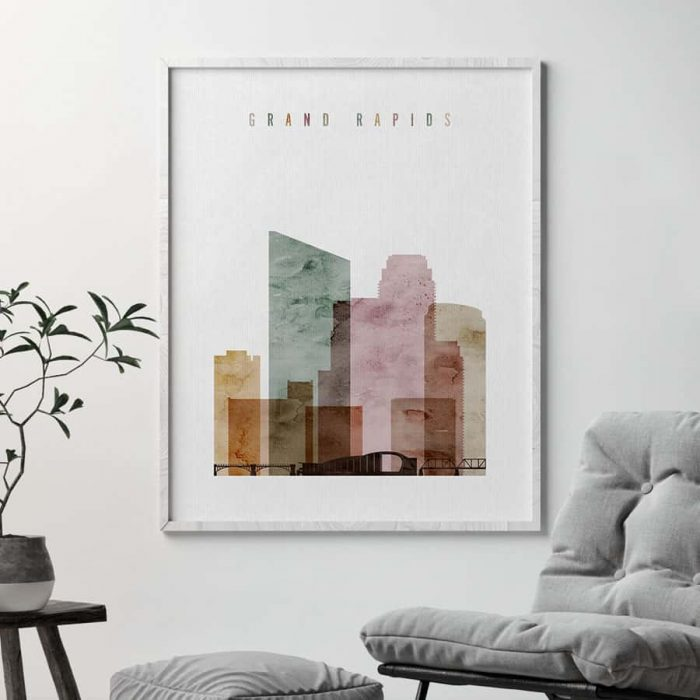 Grand Rapids skyline print watercolor 1 second