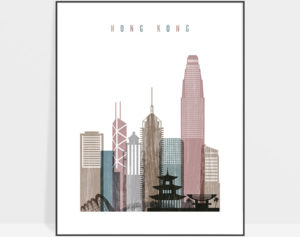 Hong Kong skyline poster distressed 1