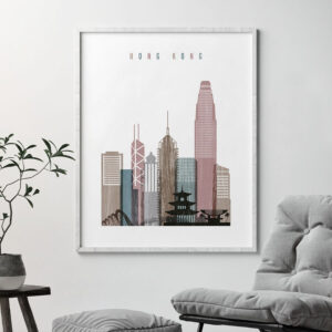Hong Kong skyline poster distressed 1 second