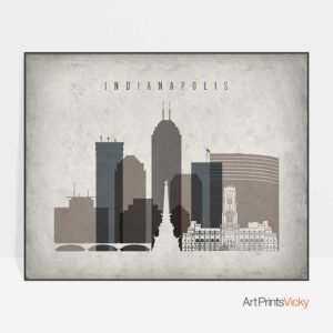 Indianapolis skyline poster landscape retro