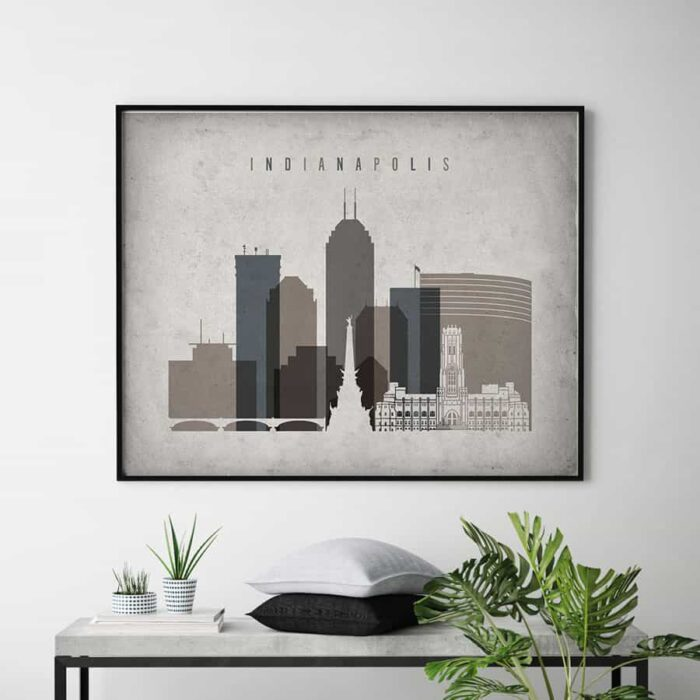 Indianapolis skyline poster landscape retro second