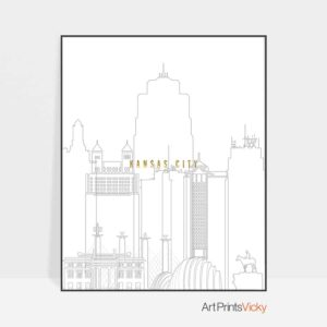 Kansas City skyline print grey gold