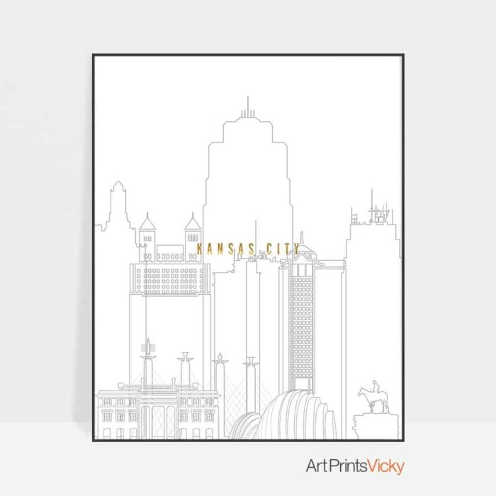 Kansas City skyline print grey gold