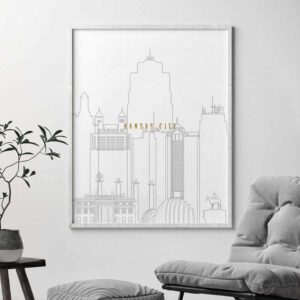 Kansas City skyline print grey gold second